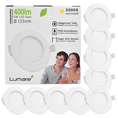 Lumare LED Einbaustrahler 6W 230V IP44 Ultra flach 9er Set Wohnzimmer, Badezimmer Einbauleuchten weiss 26mm...