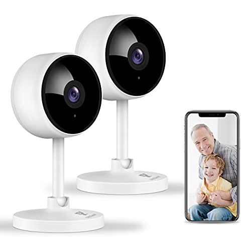 Littlelf Überwachungskamera, 1080P 2 Stück WLAN Kamera, Hundekamera mit Bewegungsmelder, Nachtsicht und...