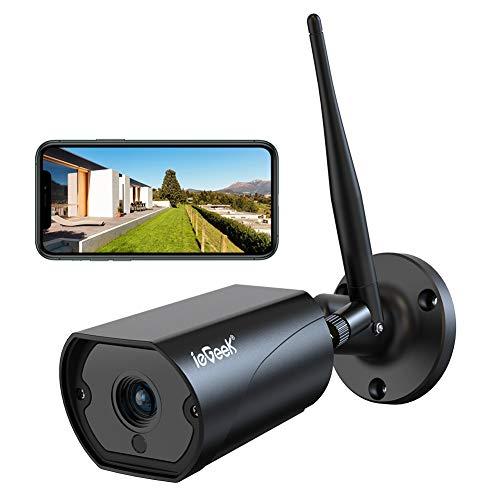 ieGeek Überwachungskamera Aussen, WLAN IP Kamera 1080P WiFi Kamera mit 5dBi WiFi Antenne, Zweiwege-Audio, PIR...