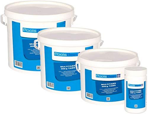 POOLSBEST® 5 kg Chlor Multitabs 5 in 1 200 g Chlortabletten für Pool - Chlor wirkt schnell gegen Bakterien,...