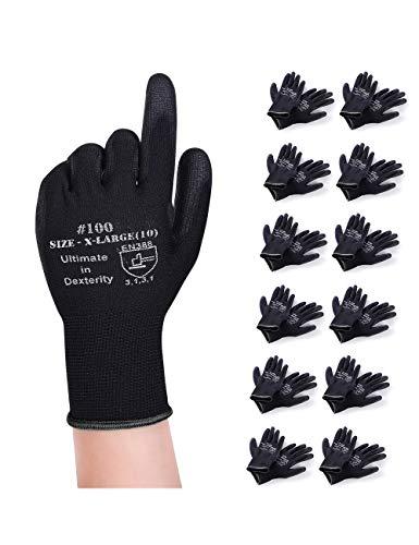 Donfri 12 Paar Arbeitshandschuhe Gartenhandschuhe Schutzhandschuhe Werkstatt Handschuhe Mit PU beschichtet fr...
