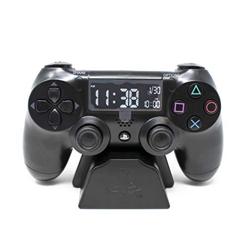 Playstation Digital Wecker LCD | PS4 Dualshock Controller Design | Verwenden Sie die Tasten, um Uhrzeit und...