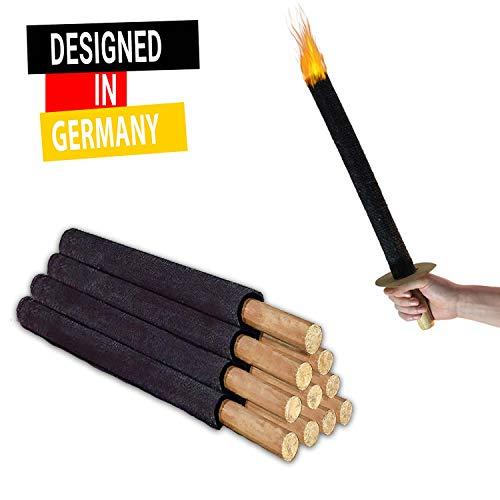 Avantina 11 Fackeln Hochwertige 45 Min. Wachs-Fackeln inkl. 11 x Handschutz, mit Extra Langem Griff, Kinder...