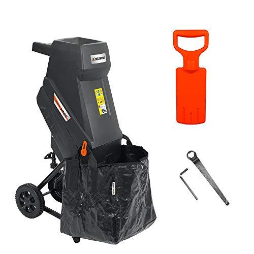 DELTAFOX Elektro Messerhäcksler - DG-EKS 2445-2400 W - inkl. 45 ltr Fangsack - 12 kg leicht - Laufräder mit...
