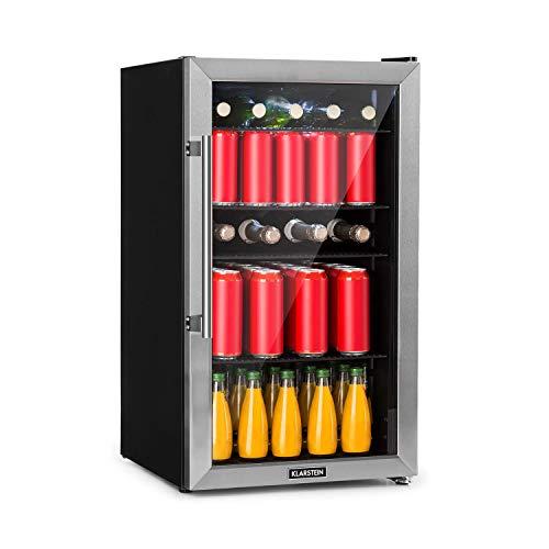 Klarstein Beersafe - Getränke-Kühlschrank mit Edelstahl-Front, Glastür, Mini-Kühlschrank,...