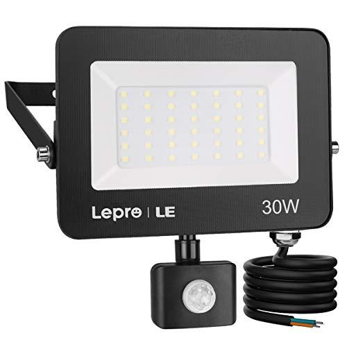 Lepro 30W LED Strahler Außen mit Bewegungsmelder PIR, 3000LM 5000K Kaltweiß Superhell Außenstrahler, IP65...