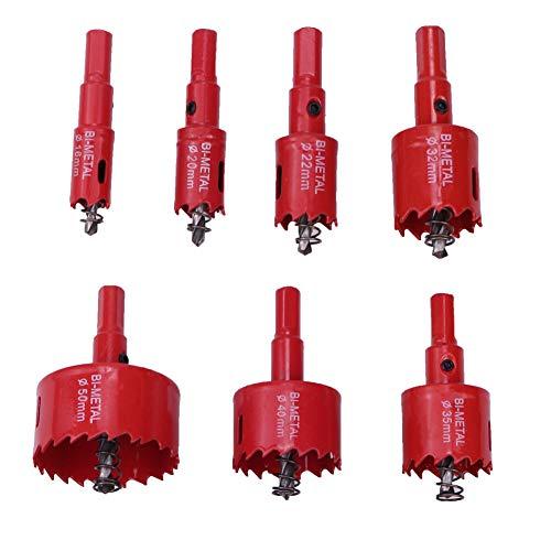 Zhongtou 7 Stück Lochsäge Set 16mm,20mm,22mm,32mm,35mm,40mm,50mm M42 HSS Bimetall Holzbohrer SetLochbohrer...