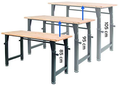 rikta höhenverstellbare Werkbank | höhenverstellbarer Arbeitstisch | ca. 135 (B) x 60 (T) x 85/95/105 (H) cm...