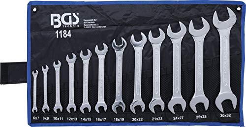 BGS 1184 | Doppel-Maulschlüssel-Satz | 12-tlg. | SW 6 x 7 - 30 x 32 mm | CV-Stahl | inkl. Tetron-Rolltasche