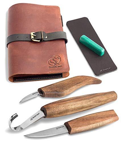 BeaverCraft Deluxe S13X Holzschnitzmesser-Set zum Holzschnitzen 3 Messer in einer Ledertasche mit Poliermittel...