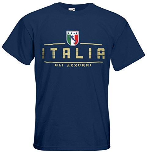 Italien Italia T-Shirt Fanshirt Nation EM-2021 Navyblau L