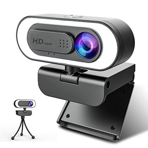 NIYPS 1080P Webcam mit Mikrofon und Ringlicht, HD Facecam mit Abdeckung und Stativ für PC/MAC/Laptop/Desktop,...