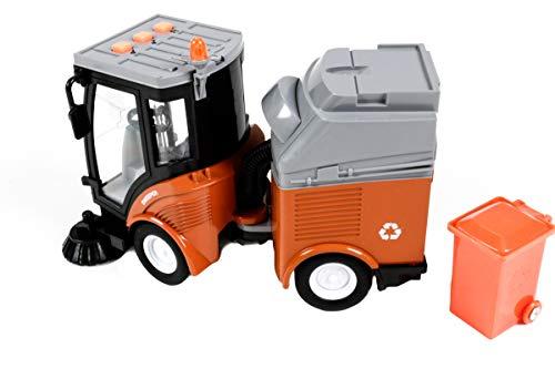 Gear Box Spielzeug Kehrmaschine mit Anhänger, Spielzeugauto Friktionsantrieb, Licht- und Tonfunktion, mit...