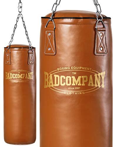Bad Company Retro Boxsack I Punching Bag ungefüllt inkl. Heavy Duty Vierpunkt-Stahlkette - 100 x 35 cm