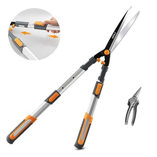 AIRAJ Professionelle Heckenschere mit gezackter SK-5 Stahlklinge, Gartenschere und Handschere, manuelle...