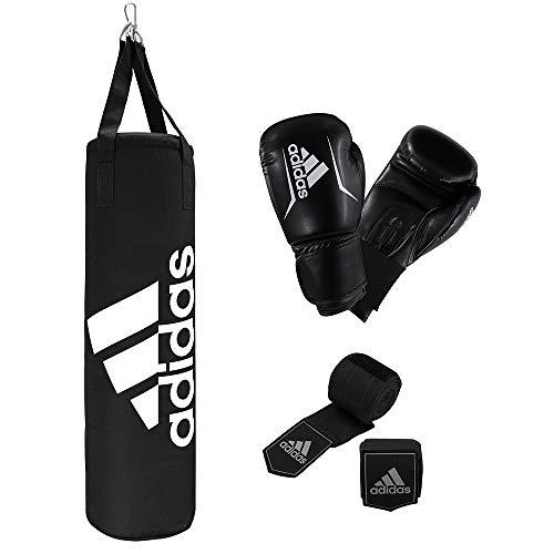 adidas Unisex– Erwachsene Boxing Kit Boxset, Schwarz, Boxsack: 80cm Handschuhe: 10oz