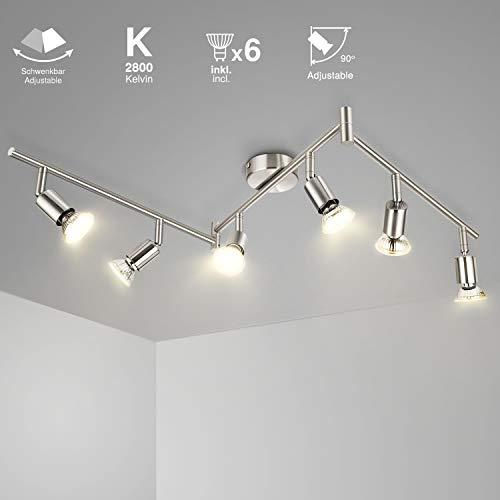 SCHIELE LED Deckenleuchte Schwenkbar 6 Flammig Strahler Deckenlampe inkl. 6 x 6W GU10 Warmweiß LED...