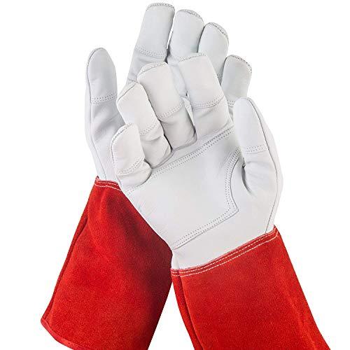 NoCry dornensichere und stichfeste Gartenhandschuhe aus Leder mit extra langem Unterarm-Schaft, verstärkten...