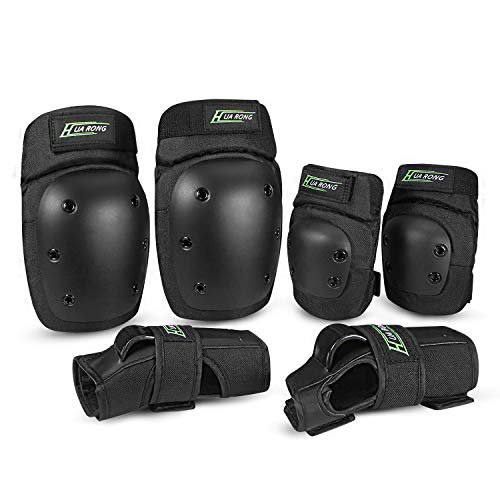 Everwell Protektoren Set, 6 in 1 Profi Schutzausrüstung für Kinder & Erwachsene - Verstellbar Knieschoner...