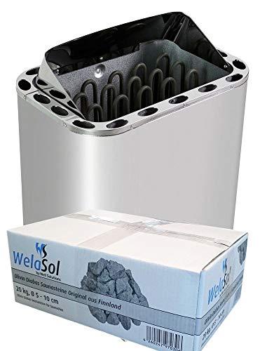 WelaSol Edelstahl Saunaofen Next von 9 kW   für finnische Sauna von 9-14 m³   geeignet für externe...