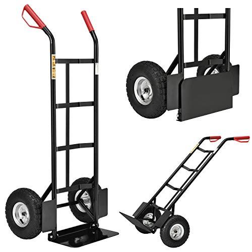 Juskys Sackkarre Basic klappbar | 200 kg belastbar | große Luftreifen | Kunststoff Griffe | Stahl Rahmen |...