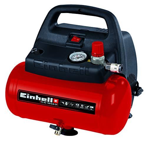Einhell Kompressor TC-AC 190/6/8 OF (1.100 W, max. 8 bar, öl-/servicefreier Motor, 6 Liter Drucklufttank,...