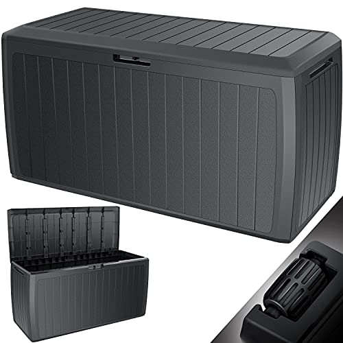 KESSER® Auflagenbox 290 Liter Mit Rollen Griffe 100 kg belastbar Smart Click System Truhe Gartenbox Kissenbox...