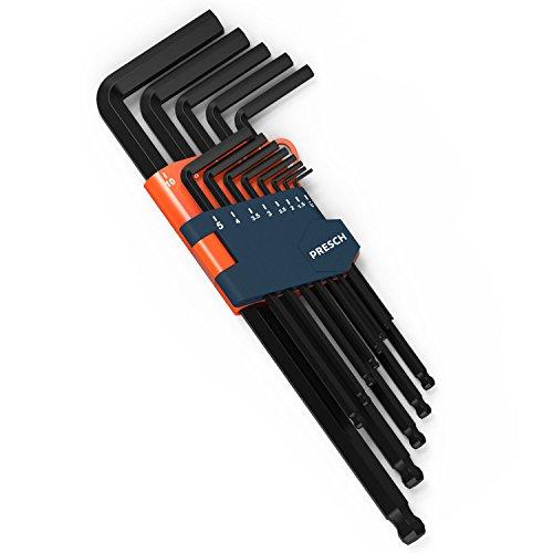 Presch Innensechskant Satz 13 tlg mit Kugelkopf HX - Profi Innensechskantschlüssel Set - Schlüssel klein und...