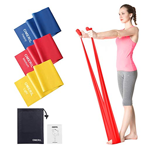 OMERIL Fitnessband 3er-Set Theraband Gymnastikband Lang Fitnessbänder Widerstandsbänder in 3 Stärke,...