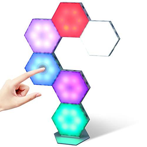 Kangtaixin Hexagon Led Panel, 6 Stück Sechseckige RGB-Leuchten mit Touch Steuerung USB Ladung, Sechseck...