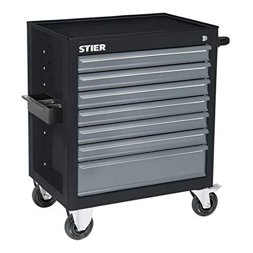 STIER Werkstattwagen BLACK-Edition, unbestückt, Werkzeugwagen, Montagewagen, mit kugelgelagerten...