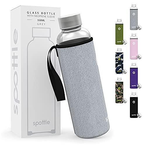 spottle® Glasflasche - Trinkflasche aus Glas mit Neoprenhülle in 550 & 750 ml - spülmaschinenfest und...