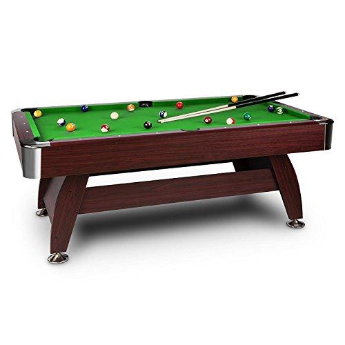 OneConcept Brighton - Billardtisch, Spieltisch, Pooltisch, Kirschholzfurnier, grüne Bespannung, interner...