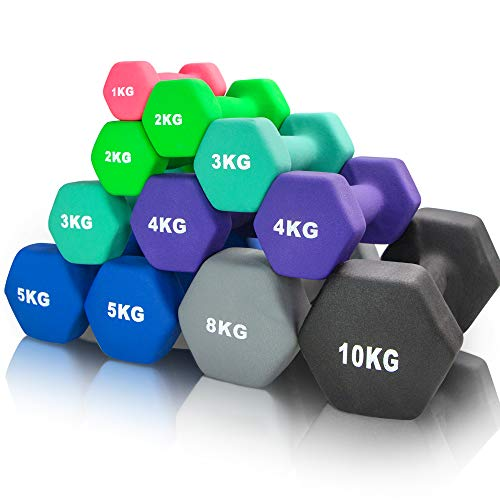 arteesol Hanteln, Neopren Kurzhanteln 2er-Set 1kg/2kg/3kg/4kg/5kg/8kg/10kg rutschfest Fitness Hantelset...