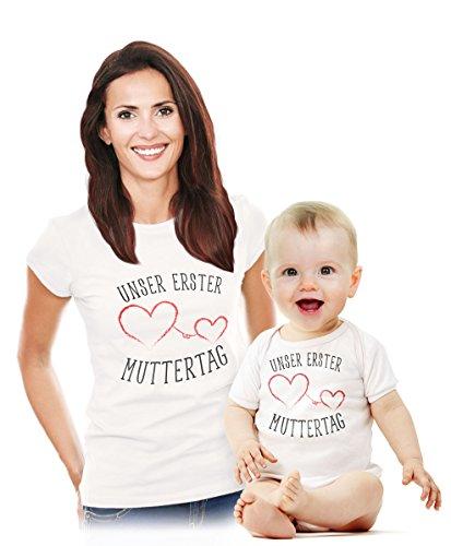 Unser erster Muttertag - Süßes Geschenk Partner Outfit für Mama und Baby Body Weiß 0-3 Monate/Shirt Weiß...