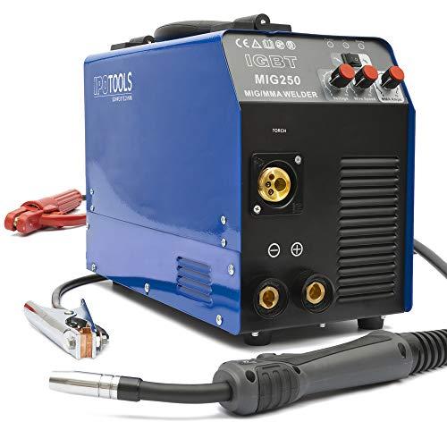MIG-250 Inverter Schweißgerät MIG MAG - Schutzgas Schweissgerät mit 250 Ampere, Fülldraht und Elektroden...