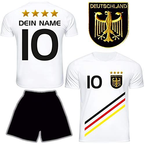DE FANSHOP Deutschland Trikot mit Hose & GRATIS Wunschname + Nummer #D13 2021 2022 EM/WM Weiss - Geschenk für...