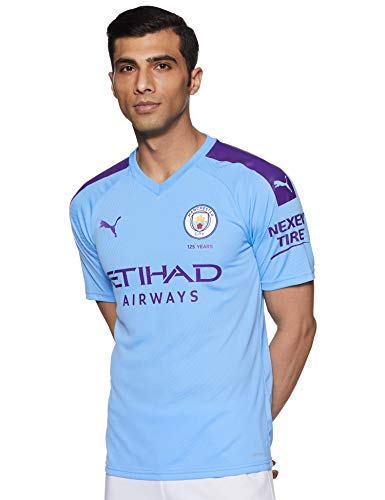PUMA Herren Trikot MCFC Home Replica SS mit Sponsor Logo, Team Light Blue/Tillandsia Purple, L, 755586