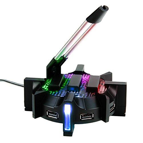 ENHANCE Profi Maus Bungee-Kabelhalter mit 4 Port USB-Hub & 7 LED-Leucht Modi - Kabelmanagement-Unterstützung...