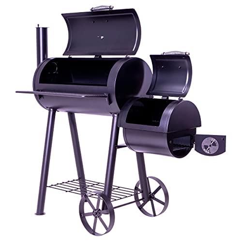 Nexos BBQ Grill Smoker Grillwagen Holzkohlegrill 2 Kammern Barbecue 125x60x120 cm 28 kg Transporträder...