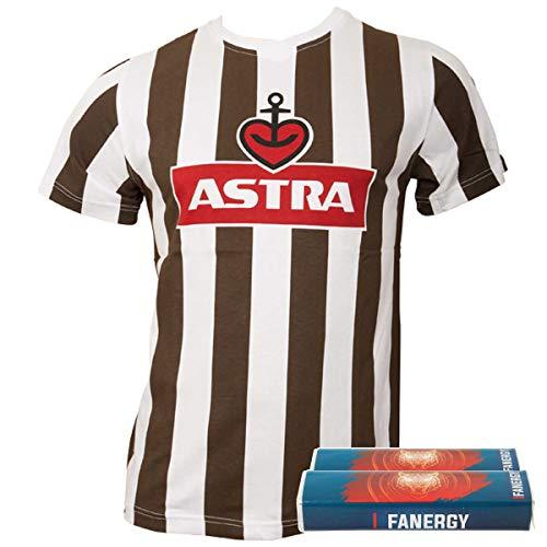 FC St. Pauli Herren Astra Traditions-Shirt T-Shirt Fußball Fanartikel Logo Braun Weiß+ + 2X Fanergy...