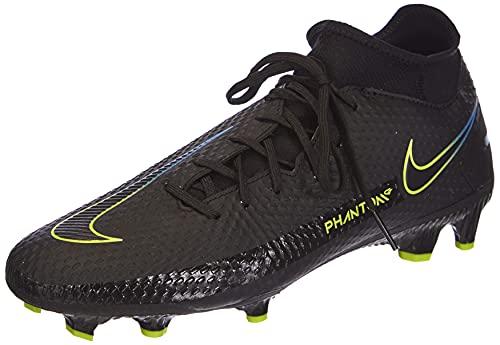 Nike Unisex Phantom GT Academy Dynamic Fit MG Soccer Shoe, Black/Black-Cyber-Light Photo Blue, 40.5 EU