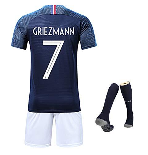 YANDDN WM 2018 Frankreich Mbappe Nr. 10 Griezmann Nr. 7 Heimtrikot, 100-jähriges Jubiläum Gedenktrikot +...