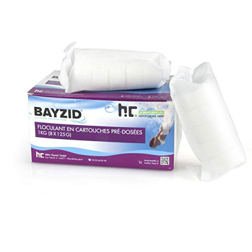 Höfer Chemie 4 x 1 kg Pool Flockungsmittel Kartuschen 32 Stück je 125g BAYZID kristallklares Poolwasser -...
