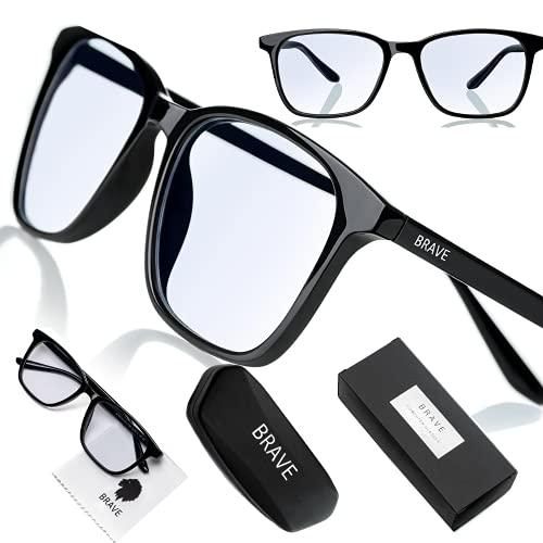 Brave Blaulichtfilter Brille Computer Glasses mit transparenten Linsen für Arbeit, Gaming, PS4; Schutz gegen...