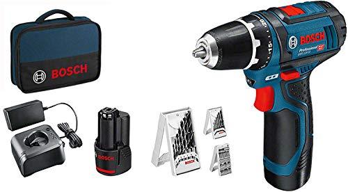 Bosch Professional 12V System Akkuschrauber GSR 12V-15 (inkl. 2x2,0 Akku + Ladegerät, 39tlg.-Zubehör-Set, in...