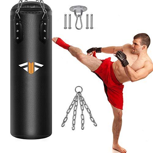 Boxsack Gefüllt 100 x 32cm, Heavy Duty Vierpunkt-Stahlkette PU-Leder Punchingsäcke, Punch Sandsack,...