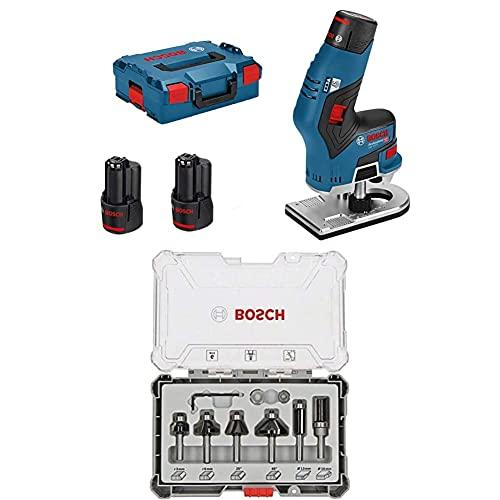 Bosch Professional 12V System Akku Kantenfräse GKF 12V-8 + 6tlg. Rand- und Kantenfräser Set