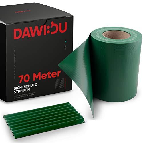 DAWIDU Zaun Sichtschutzstreifen für Doppelstabmatten - 70m x 19cm inkl. 52 Clips - 3 Farben - Hochwertiger...