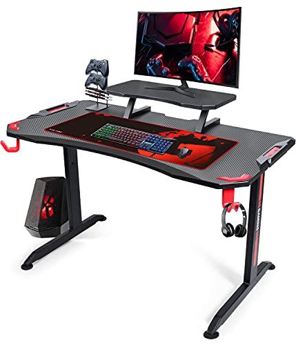 GTPLAYER Gaming Tisch Schreibtisch Computertisch T-förmiger Rahmen Voll ausgestattet mit verstellbarem...